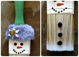 snowman paintbrush ornament always the holidays