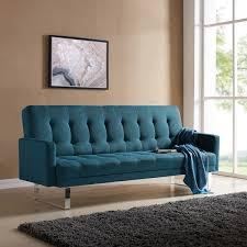 Click Clack Sleeper Sofa Handy Living Springfield Caribbean Blue Linen Click Clack Futon