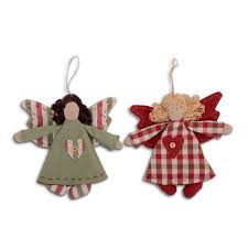 handmade hanging fabric christmas angel tree decoration heart