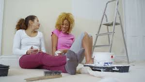 relaxing painting videos 4k happy attractive gay female couple relax and take a break from