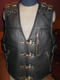 leather biker vest biker vest handmade motorcycle vest genuine leather 1 8mm black