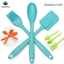 ustensile de cuisine en silicone 3 pcs ensemble silicone spatule cuillère brosse cuisine ustensile de