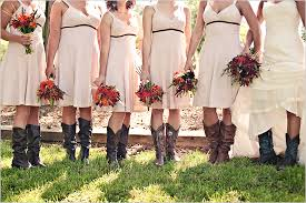 country bridesmaid dresses with cowboy boots wedding decorate ideas