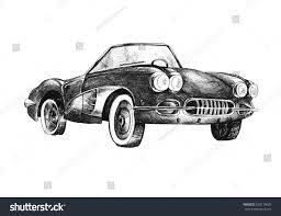 vintage corvette drawing retro sport car cabriolet ink drawing stock illustration 638170603
