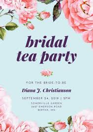 bridal tea party floral bridal shower tea party invitation templates by canva