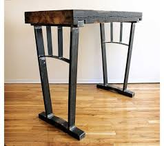 bar height table legs wood reclaimed wood bar height table steel legs by ironandwoodside