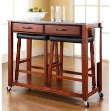 crosley furniture kitchen cart crosley furniture kitchen cart with cherry upholstered saddle stools