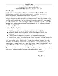 Sample Lawyer Cover Letter Best Administrative Assistant Cover Letter Examples Livecareer