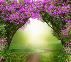 beautiful spring fantasy background magic forest with road beautiful spring