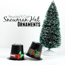 pitterandglink recycled k cup snowman hat ornaments