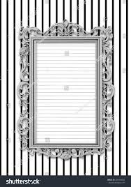 Black And White Striped Wallpaper by Closeup One Silver Baroque Picture Frame Stock Illustration