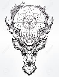 hand drawn romantic beautiful drawing deer head dream
