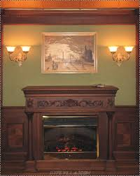 dark brown wooden carving fireplace mantel connected by silver