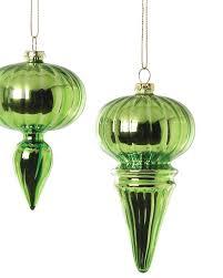 assorted green mini finial ornaments treetopia