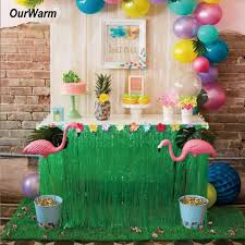 luau party decorations 275 75cm hibiscus artificial grass table skirt for hawaiian party
