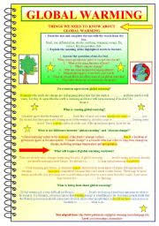 Global Warming Worksheet Intermediate Esl Worksheets Global Warming