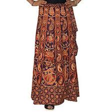 indian printed bandhej wrap around skirt with open waist