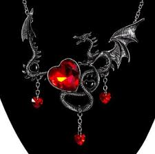 wholesale love necklace images European necklace for women men gothic vintage red heart dragon png