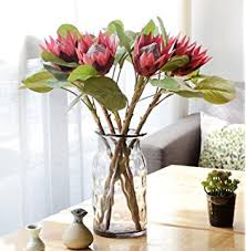 Fake Flowers For Home Decor Amazon Com Club Pack Of 12 Artificial Red Needle Protea Silk