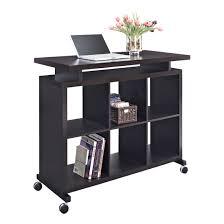 altra espresso standing multipurpose desk with shelves 9801096