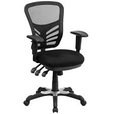 Black And White Desk Chair by Flash Furniture Hl 0001 Gg Mid Back Black Mesh Office Chair With