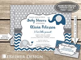 elephant baby shower invitation navy blue gray little peanut