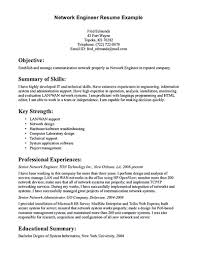 Network Engineer Sample Resume by Network Engineer Resume Objective Virtren Com