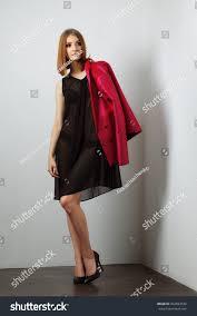 fashion model black lingerie transparent stock photo