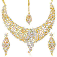 gold necklace with stones images Buy buy 1 atasi sleek gold plated ad stone necklace set and get 1 jpg