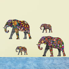 colorful elephant flower pattern pvc wall sticker removable retro