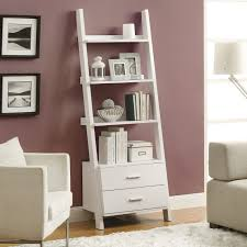 furniture wide ladder shelf black wood bookcase espresso ladder