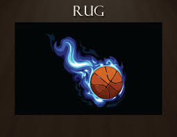 Area Rug For Kids Room by Basketball Rug With Blue Flames And Black Background Sports Rugs