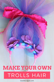 make your own trolls hair headband birthday party ideas