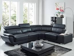 canapé d angle noir cuir canapé d angle en cuir de vachette 3 coloris nahia