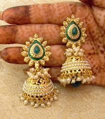 jhumkas earrings buy gorgeous green gold plated bandani jhumka earrings online