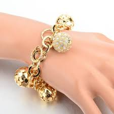 gold plated bracelet charms images Gold plated bracelet pandora style with hollow ball and crystal jpg