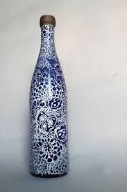 Blue Bottle Vase Wine Bottle Vase With Matching Candle Set White With Red Orange