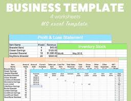 business excel template profit loss inventory expense revenue