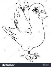 vector illustration unpainted funny cartoon pigeon stock vector