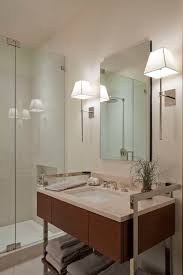 Modern Bathroom Wall Sconce Modern Bathroom Lighting Ideas With Wall Sconces In Both Sides Of