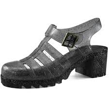women u0027s chunky heel glitter jelly round toe strappy caged