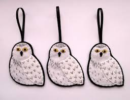 bugs and fishes by lupin snowy owl ornaments