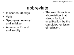 Synonyms For Light Joshua Younger 4th Hour Abbreviate Ppt Video Online Download