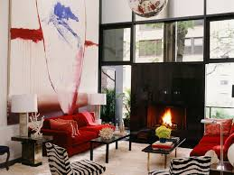 living room 37 zebra chairs and 2 red loveseat in modern