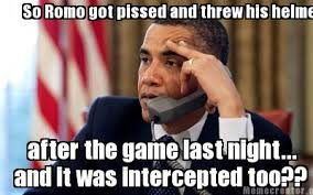 Romo Interception Meme - meme creator so romo got pissed and threw his helmet after the