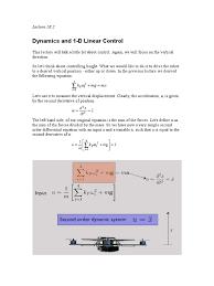 aerial robotics lecture 1b 2 dynamics and 1 d linear control