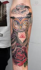 owl and red rose tattoos on chest in 2017 real photo pictures