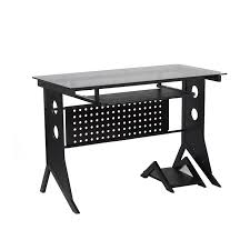 glass top computer desk xtech computer desk black with tempered glass top ct 12110