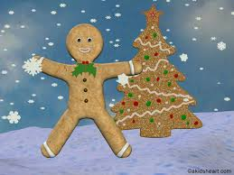 desktop wallpaper of gingerbread man and christmas tree