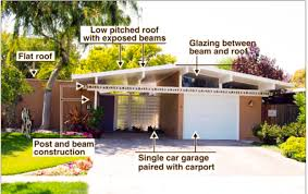 Single Car Garage by Typical Eichler Features 1 Flat Roof Low Pitched Roof With